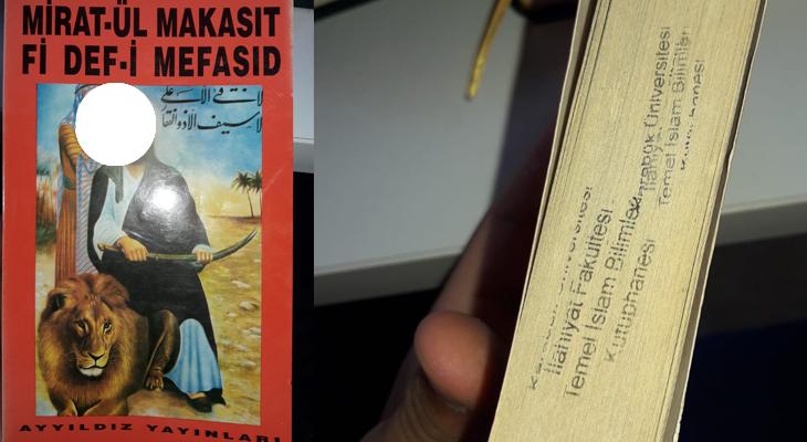 İlahiyat kütüphanesindeki kitap görenleri kızdırdı